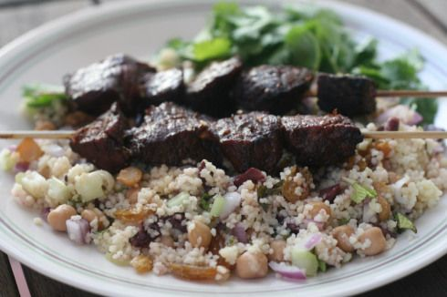 Moroccan Beef Kebabs and Couscous Salad & also see at bottom of page Morrocan tagine chicken with olives & preserved lemon**  And other recipes**