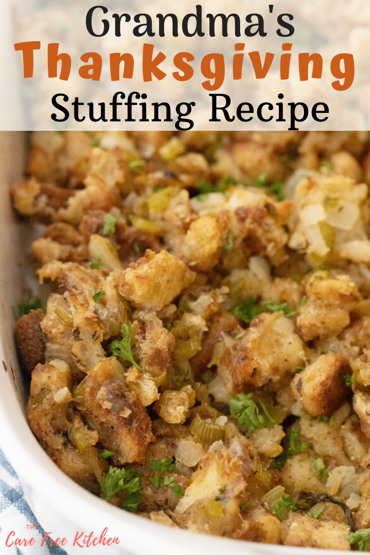 Grandma's Stuffing Recipe is a classic Homemade Thanksgiving Stuffing Recipe fro…