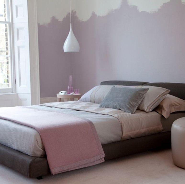 Schlafzimmer Farbgestaltung Und Streichen Idee Für Optische Vergrößerung  Mit Wandfarbe Lila