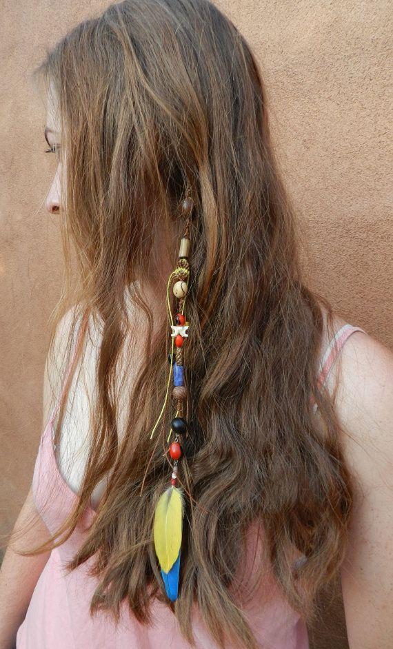 hair feather jungle princess boho style clip in hair wrap blue