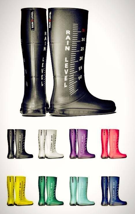 rain boots with water level measurements