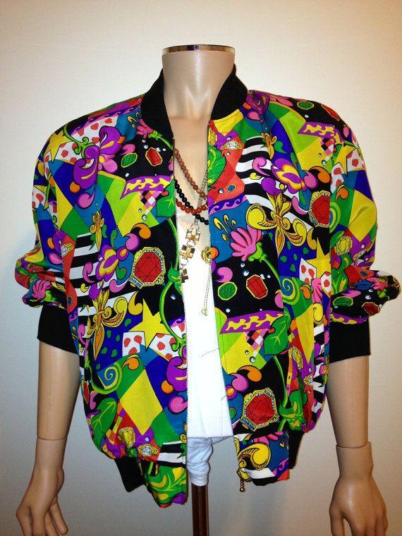 746ddb3dbb8 Vintage 1990s BAROQUE colorful ABSTRACT print silk bomber coat jacket nu  wave hip hop size Large. 87.00