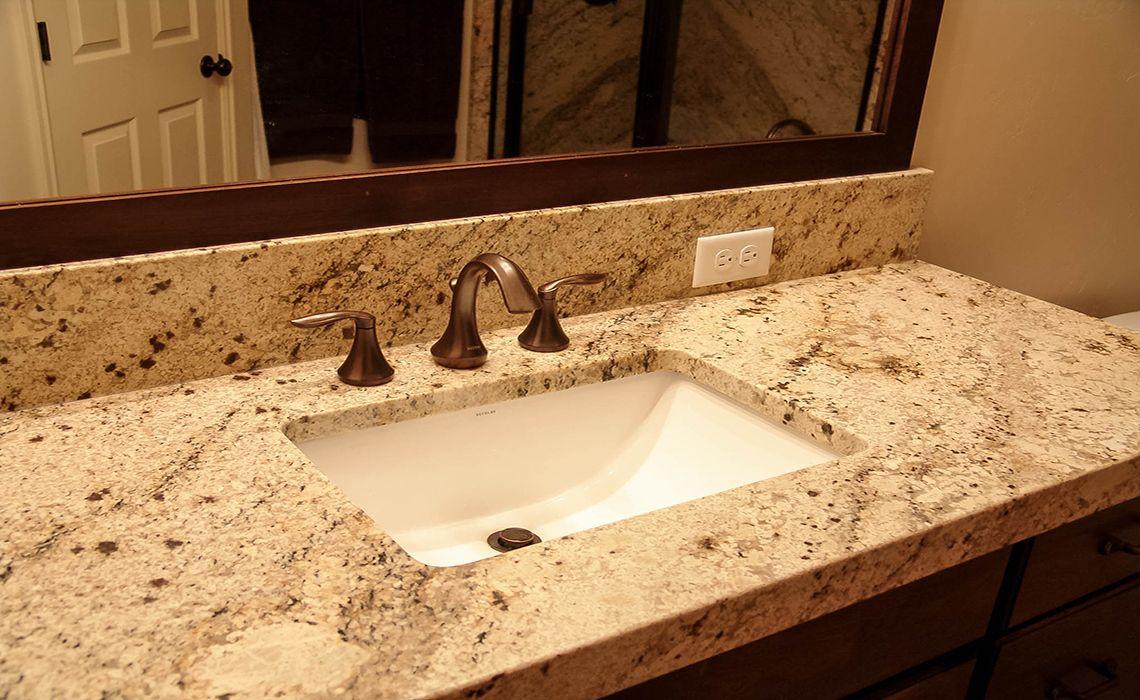 Sienna Beige Granite With Miter Apron Edge Quartz Bathroom
