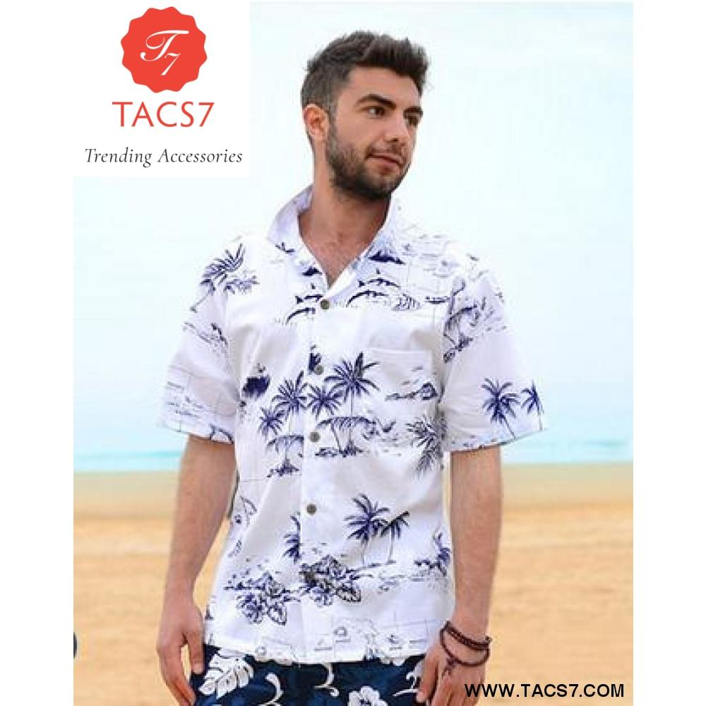 bc084d794d Summer Style Men Shirt Cotton Hawaiian Beach Print | Mens outfits in ...