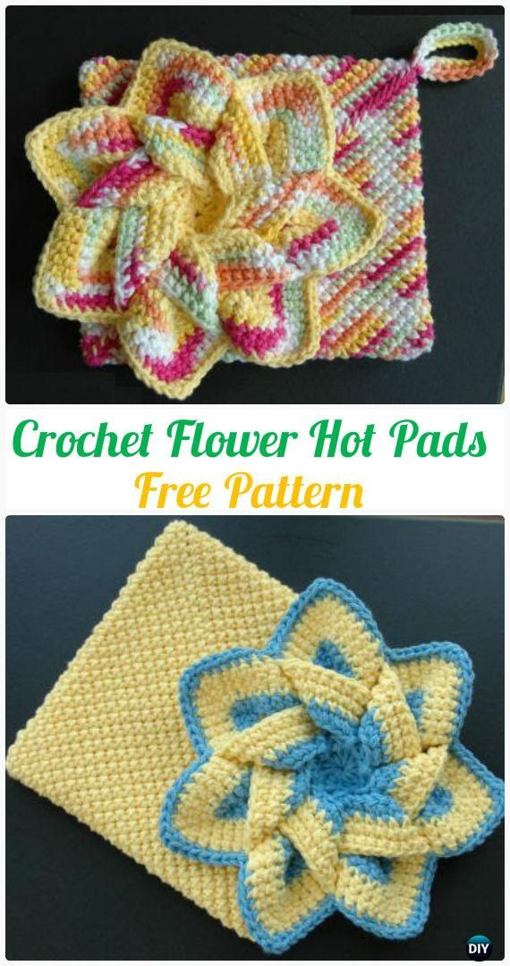 Crochet Flower Hot Pads Free Pattern Crochet Pot Holder Hotpad