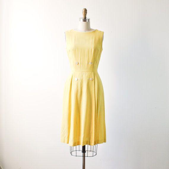 vintage 1950s banana yellow linen dress / by RockAndRollVintage, $120.00