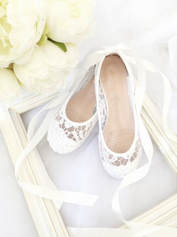 84c77198652 Flower Girls Shoes - Lace Ballerina Flats with Satin Ribbon Lace Up ...
