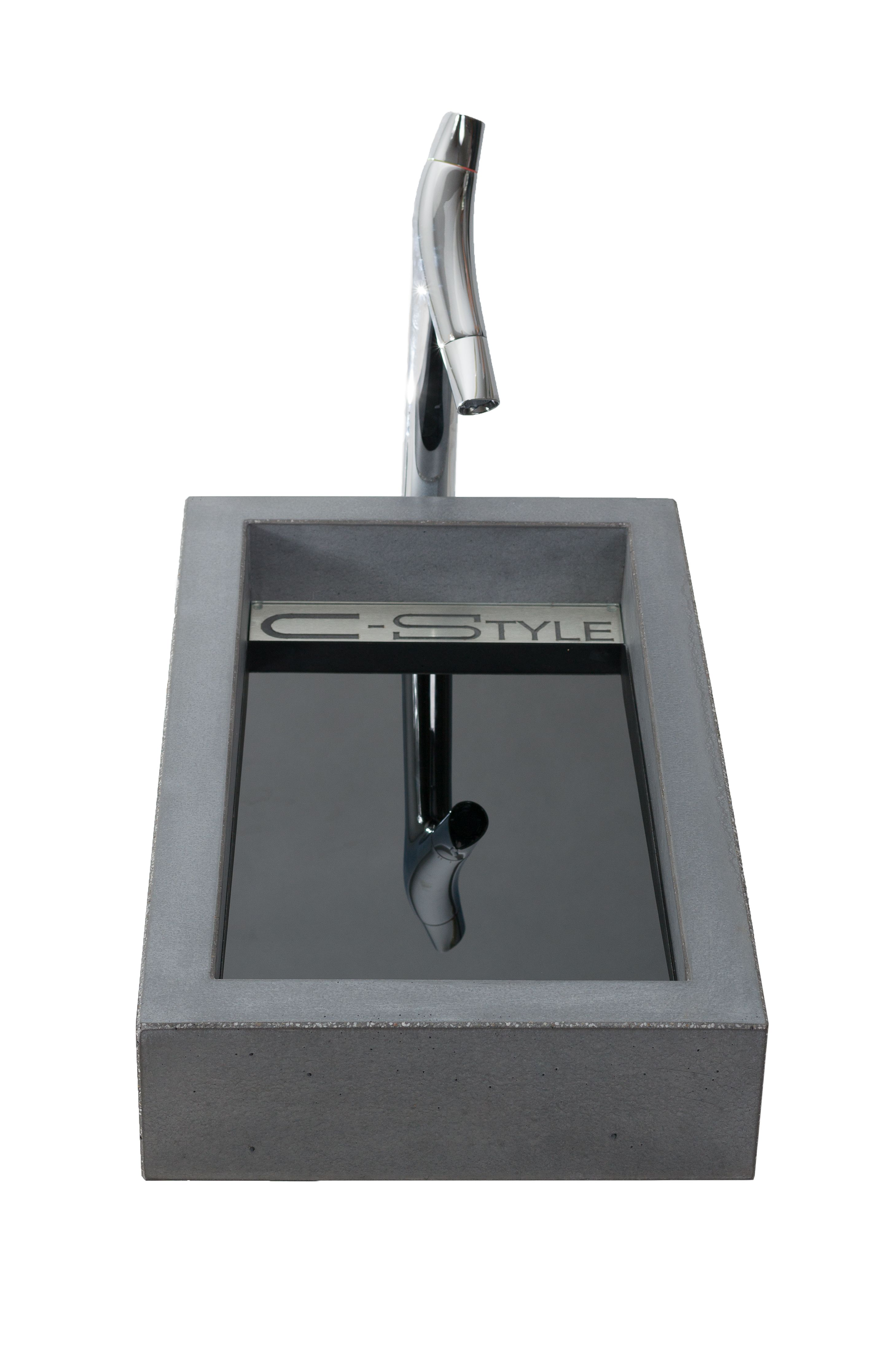 VEKTOR – Minimalist style counter top basin with hidden drain. Produced with a broad selection of glass and metal inlays.  Size: L:70cm W:40cm H:12cm