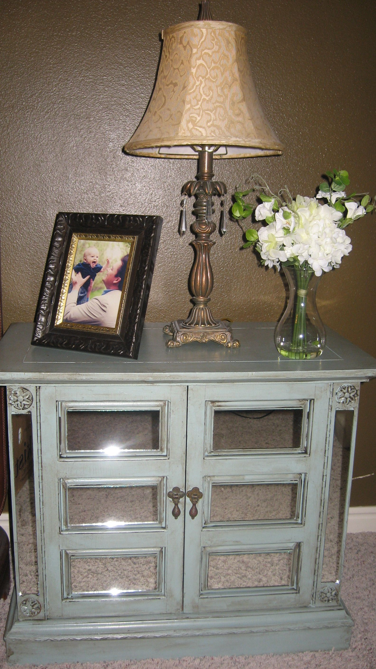 DIY Mirrored furniture I may be doing something like this on