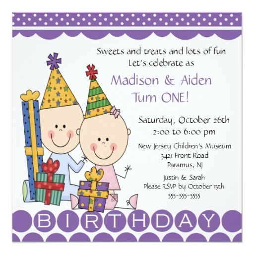 Boy Girl Stick Figure Twins Birthday Invitation Tarjetas