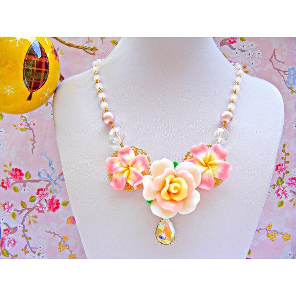 Pink Flower Kawaii Necklace, Pink Statement Neckace, Flower Kawaii... (115 CAD) ❤ liked on Polyvore featuring jewelry, necklaces, pink jewelry, flower necklace, blossom necklace, pink flower necklace and clay jewelry