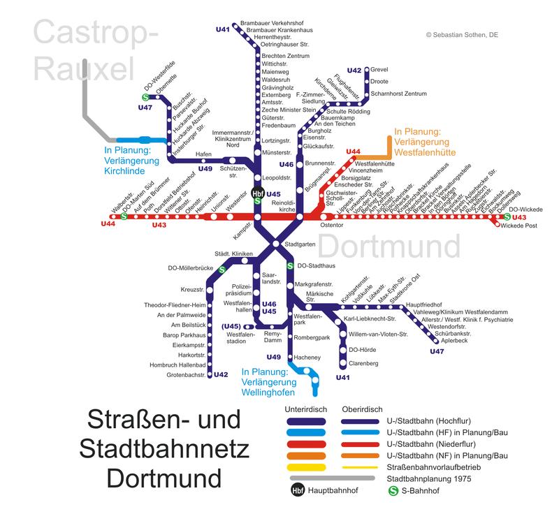 Metro of Dortmund Subway map Rapid transit and Light rail