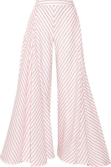 ROSIE ASSOULIN Miss Direction Striped Stretch-Cotton Cloqué Wide-Leg Pants. #rosieassoulin #cloth #pants