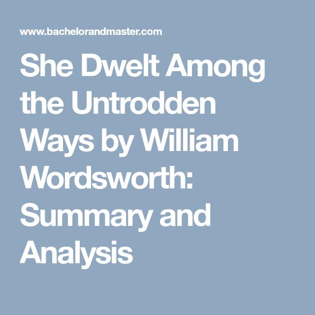 she dwelt among the untrodden ways sparknotes