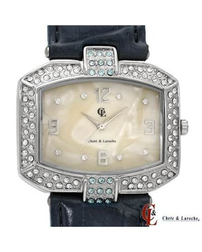 Brand New CHETE AND LAROCHE Leather and Mother of Pearl Watch  Women #Jewelry