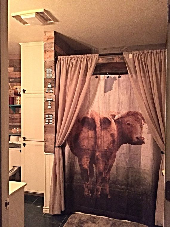 Shower Curtain Cow Door Primitive Farm House Decor by FolkandFunky ...