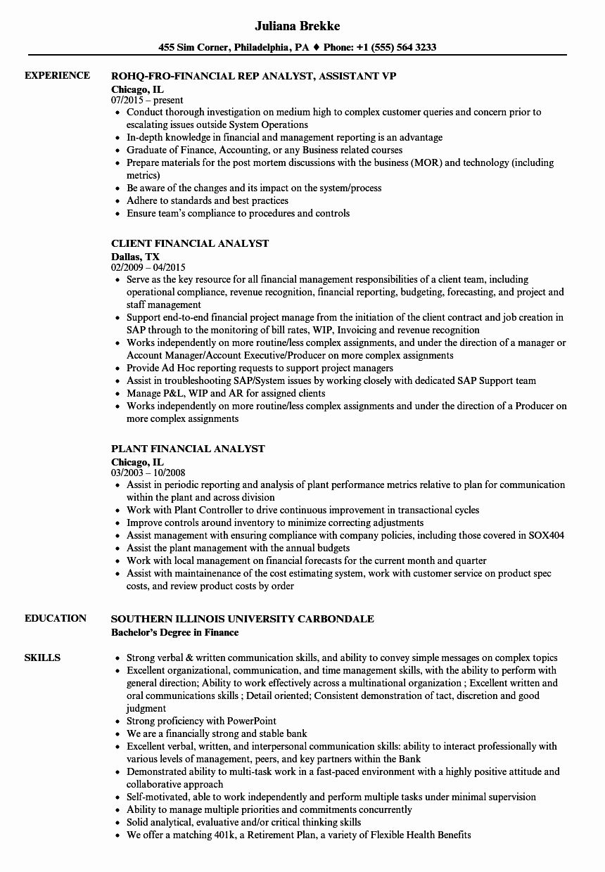 Financial Analyst Resume Template Luxury Financial Analyst