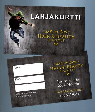 Gift card to hair salon   www.blackouthair.fi
