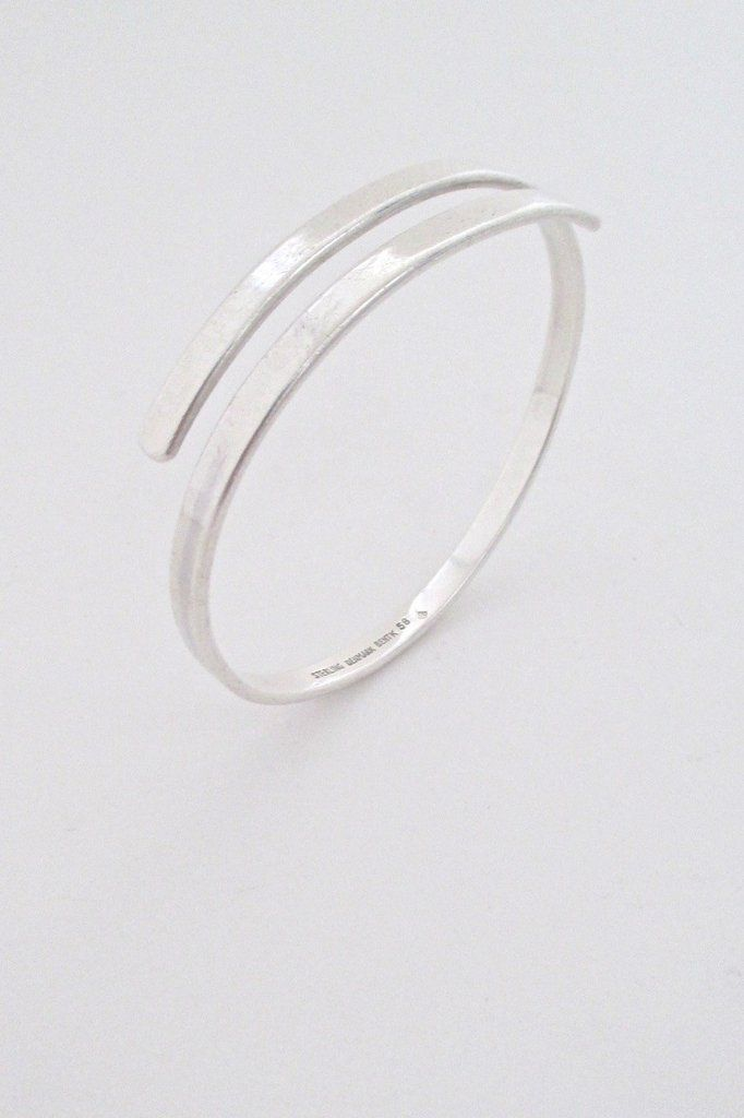 Bent Knudsen Denmark Vintage Modernist Simple Silver Wrap Bangle Bracelet