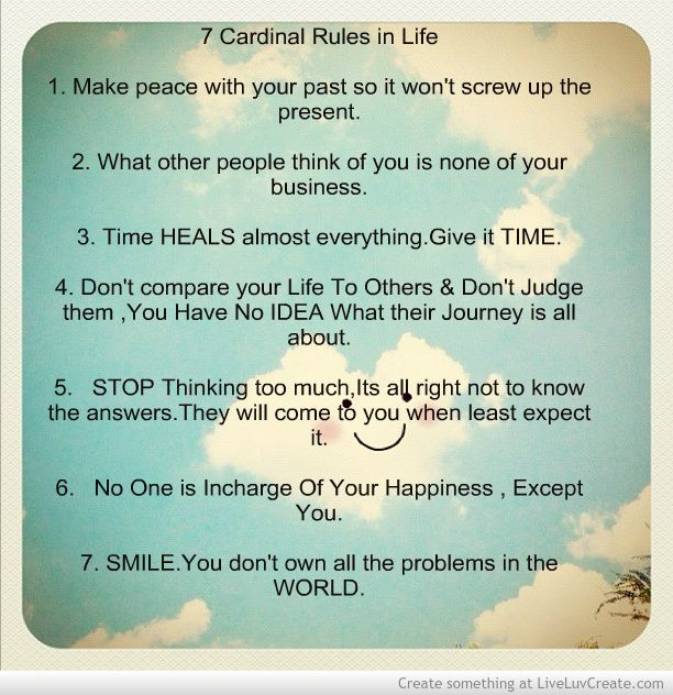 7 Rules Of Life Quote: 7 Cardinal Rules In Life Picture