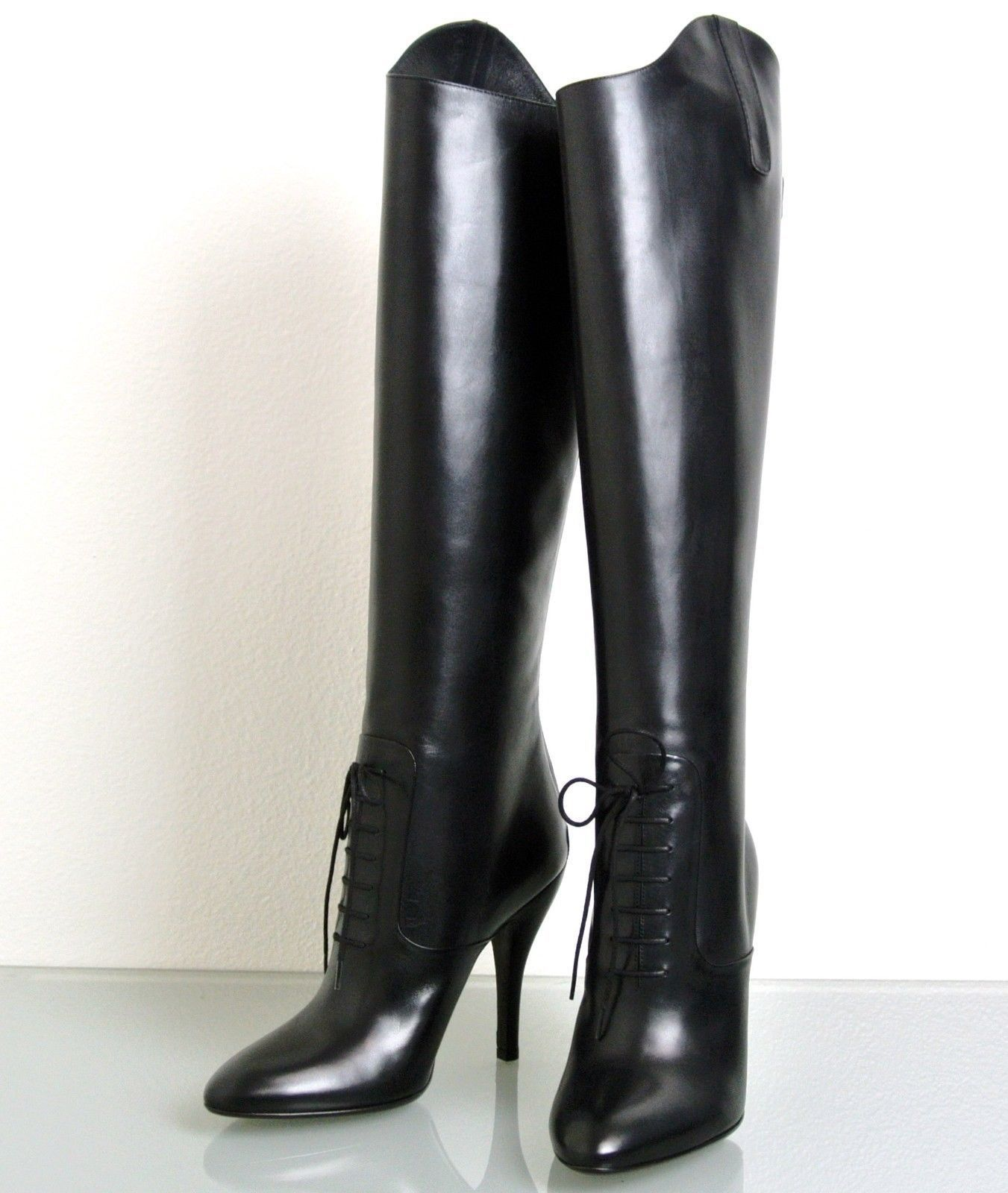 New Authentic Gucci Elizabeth High Heel Leather Riding Boots