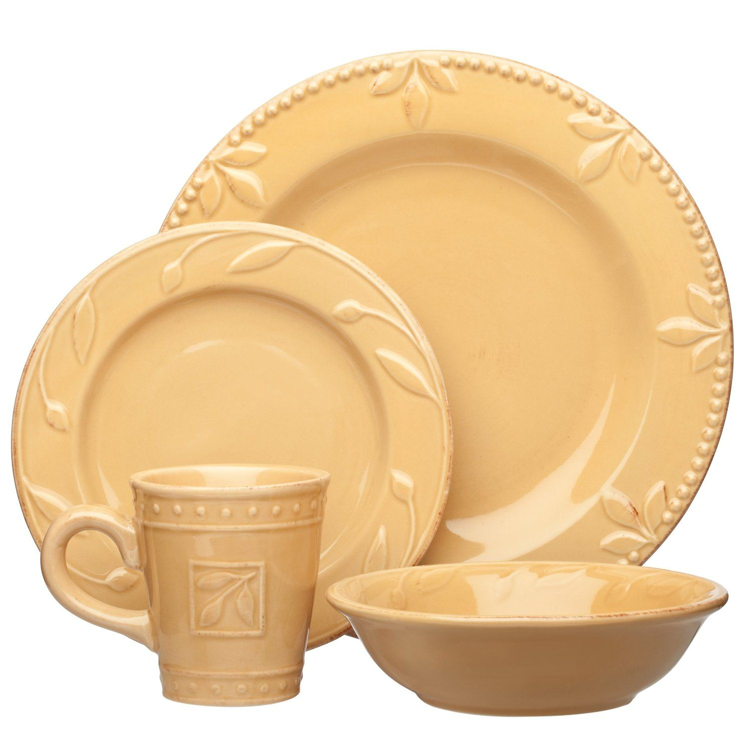 Amazon.com Signature Housewares Sorrento Collection Stoneware 4-Piece Dinnerware Set Gold  sc 1 st  Pinterest & Amazon.com: Signature Housewares Sorrento Collection Stoneware 4 ...