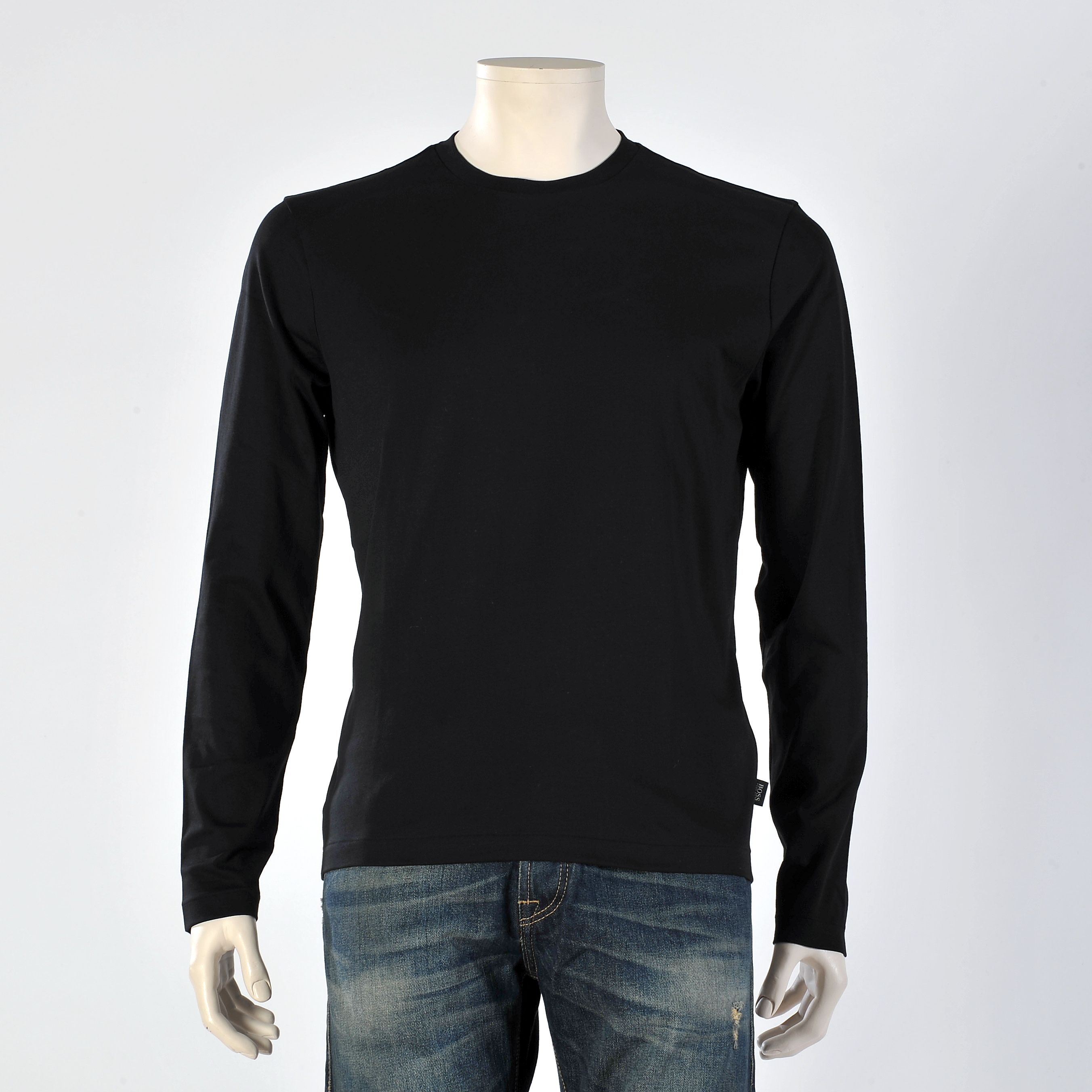 black long sleeve plain shirt | jumpsuit knitwear poloshirts ...
