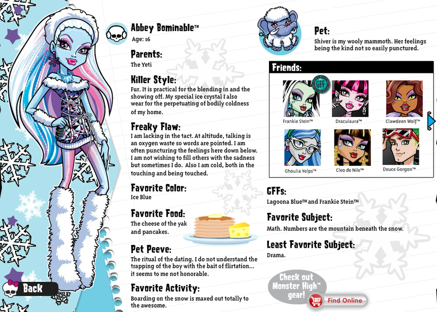 monster high character profiles abbey google search
