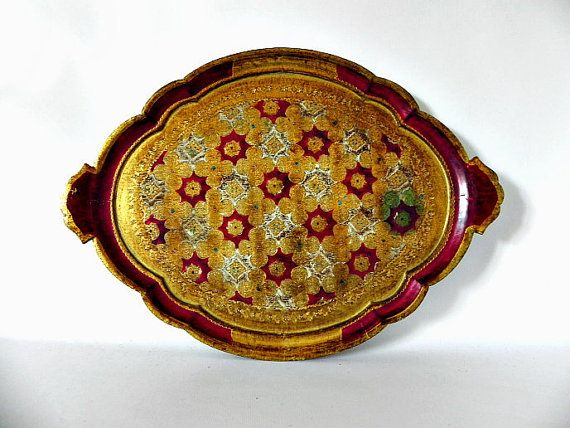 Italian Vintage Red and Gold Florentine Serving by ChicFrangine, $235.00 Want to have some mint tea underneath a tent in the dessert?  This is definitely the way to serve it!!!