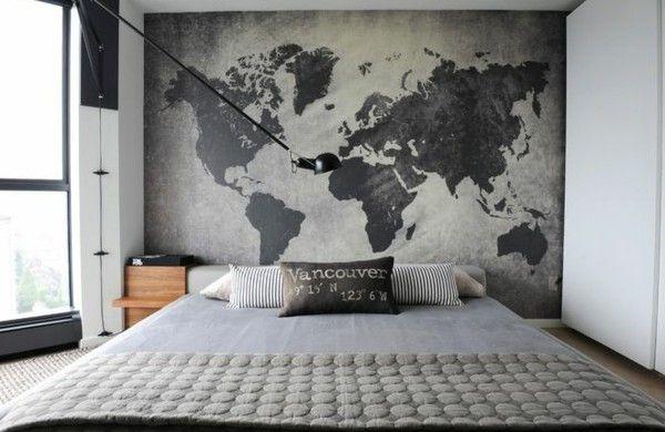 Schlafzimmer Wandgestaltung Landkarte Wand