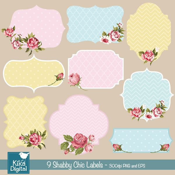 Shabby Chic Tag Templates Shabby Chic Labels - Cliparts - Frame ...