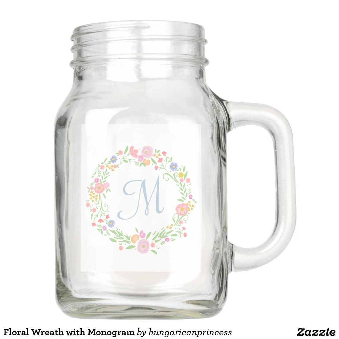 Floral Wreath with Monogram Mason Jar | Personalized Mason Jar ...