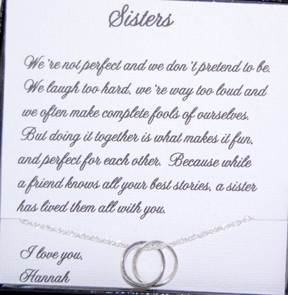 Gift for SISTER, Sisters Jewelry, Sister as Maid of Honor, Birthday gift for Sister, Eternity Neckla