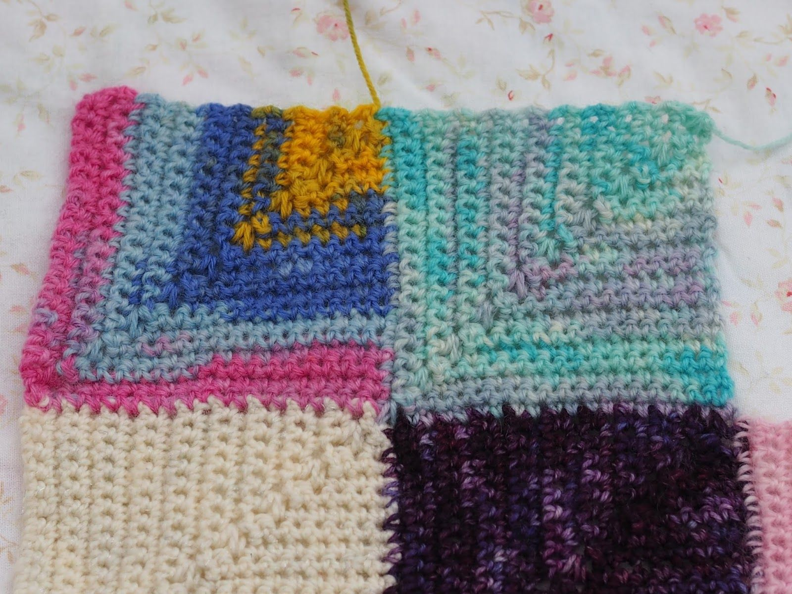 Crochet mitred square scrap sock yarn blanket by betsymakes ...