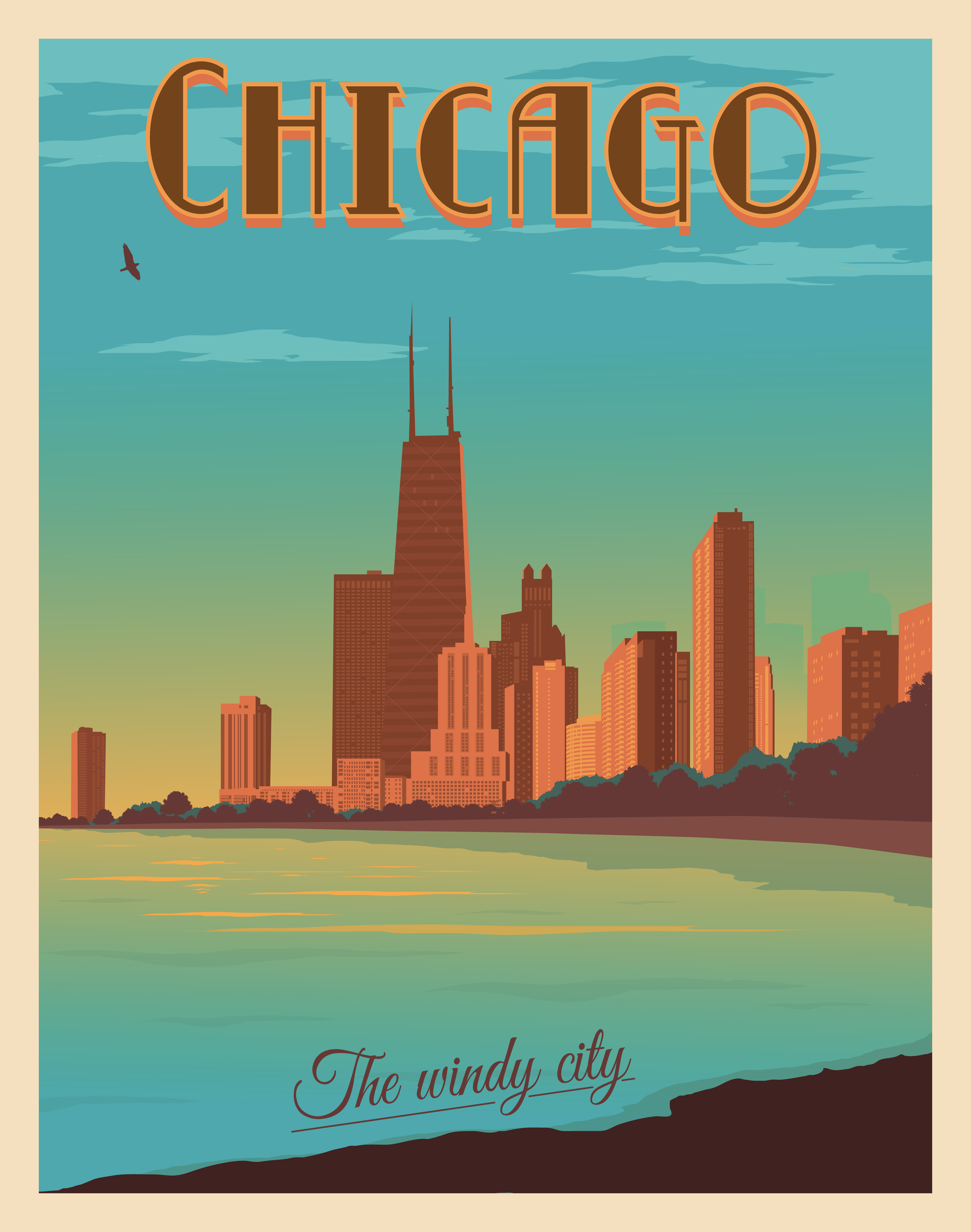 VINTAGE CHICAGO TRAVEL A2 POSTER PRINT