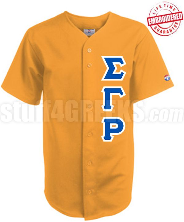 Sigma Gamma Rho Greek Letter Cloth Baseball Jersey Gold Tw Embroidered With Lifetime Guarantee Sigma Gamma Rho Clothes Baseball Jerseys