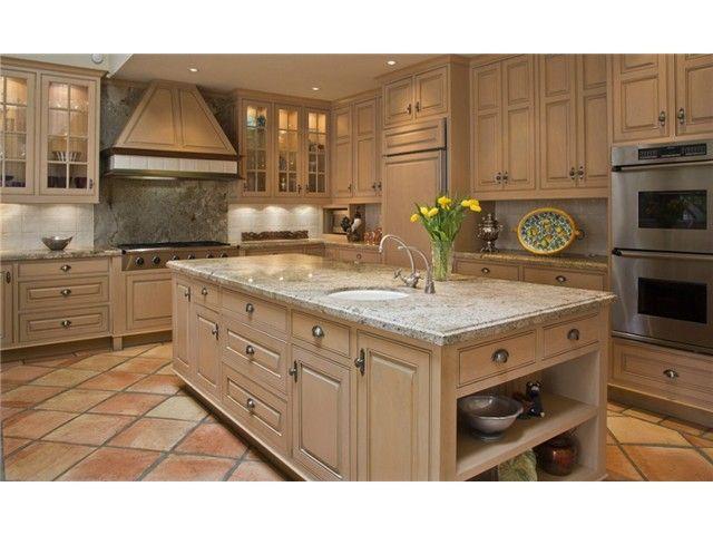 Tan Tile Cream Cabinets Counter