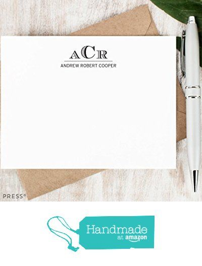 Engraved Monogram  Personalized Flat Stationery Set Personalised