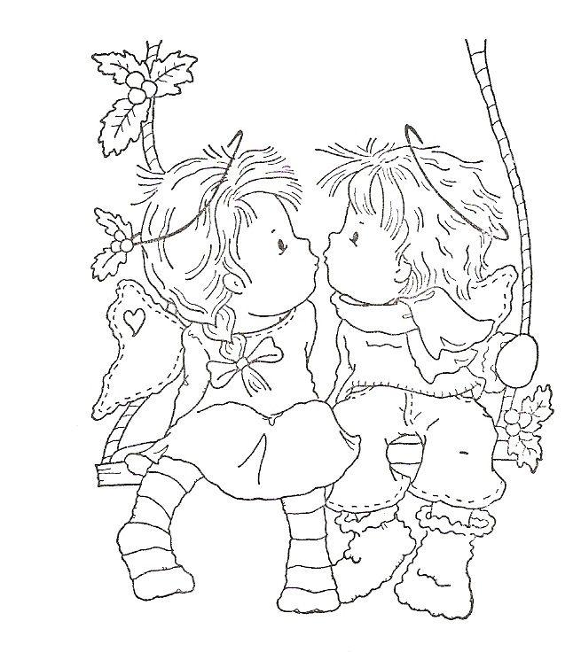 kleurplaat jongen en meisje op schommel kleurplaten