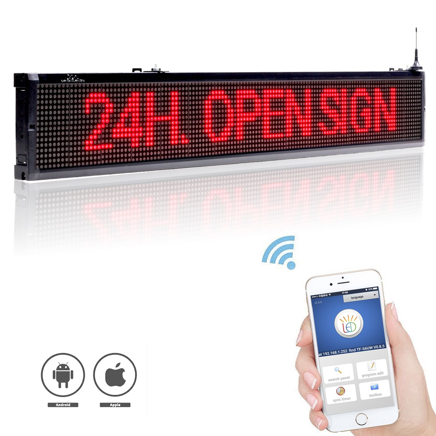 Leadleds Wireless Sign Easily Message Programmble By Smart Phone Both Android And Ios Surpported Android Wifi Led Display Screen Led Signs