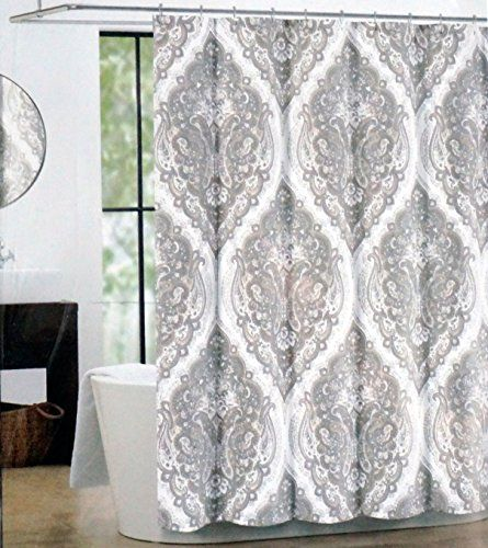 Tahari Fabric Shower Curtain Beige And Gray Paisley Medallions Salma Home