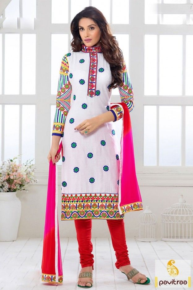cb2761ce31 New generation young college girls wear fashionable white red cotton latest  designs embroidery suit with price in low cost. Latest formal casual women  ...
