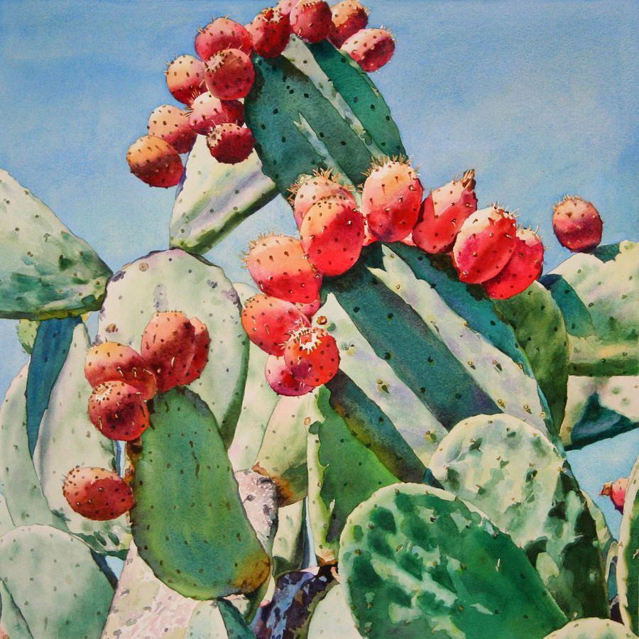 Cactus Apples Painting - Cactus Apples Fine Art Print http://www.pinterest.com/pin/79376012155297579/