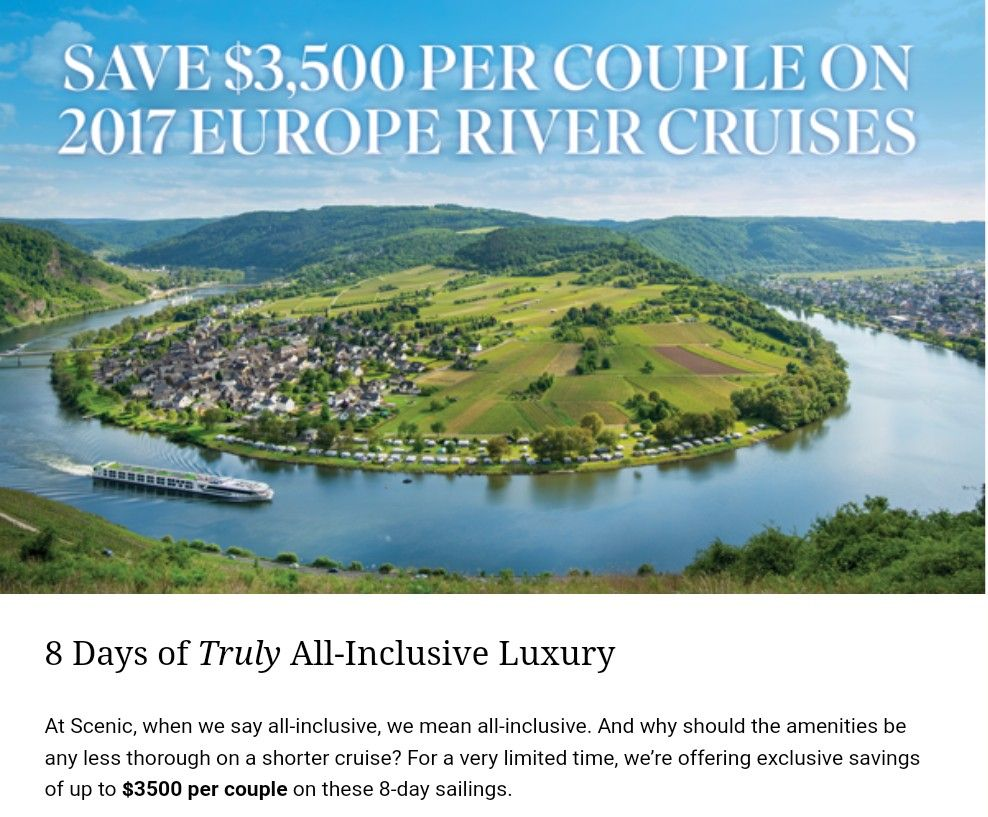 Don't miss the boat. Contact me to book. River cruises