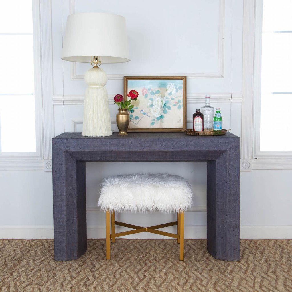 Avery Grasscloth Console Table Navy With Images Home Decor