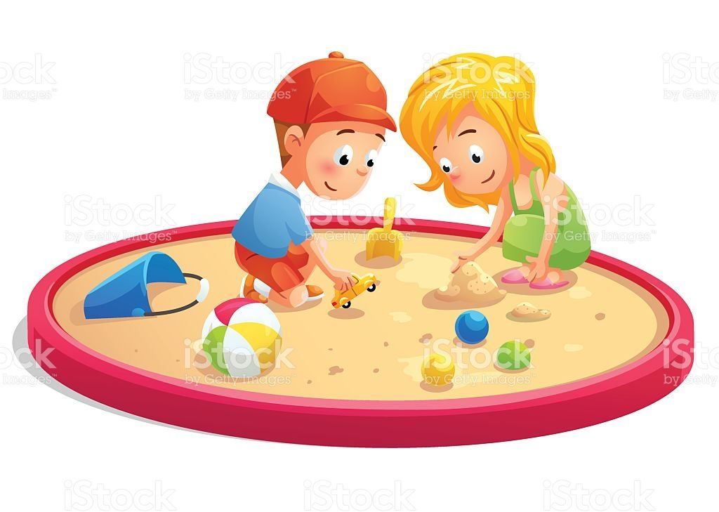 kids playing in sandbox cartoon style royalty free stock vector art rh pinterest co uk