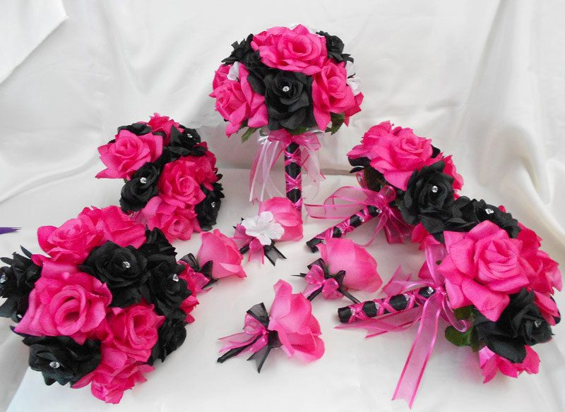 Wedding Bridal Bouquets Your Colors 18 Pcs Package Fuchsia Hot Pink Black Roses Toss Bridesmaids Boutonnieres Corsages