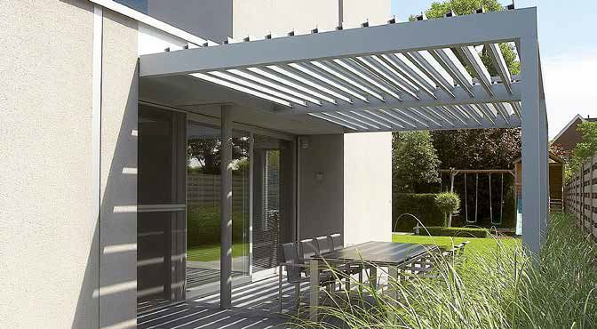 angebaute pergola selbsttragend aluminium orientierbaren lamellen algarve renson. Black Bedroom Furniture Sets. Home Design Ideas
