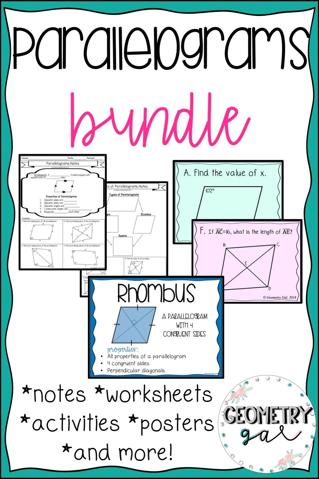 Parallelograms Bundle Math posters high school, High