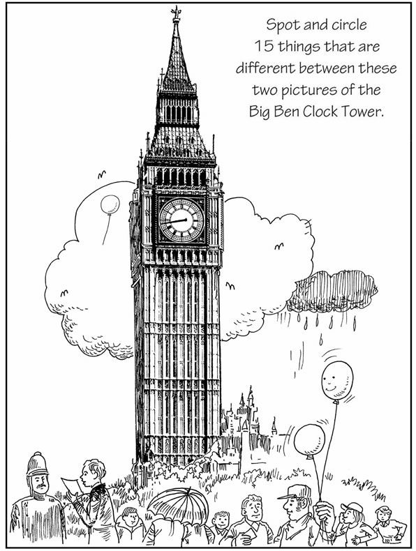 SpottheDifference Big Ben 2 Coloring Pages Dover